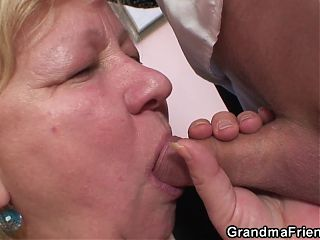 Very old blonde granny gets double penetration