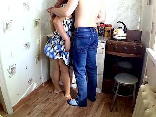 stepson walked up to milf and took her ass with his hand