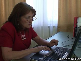 Very old granny threesome sex in the office