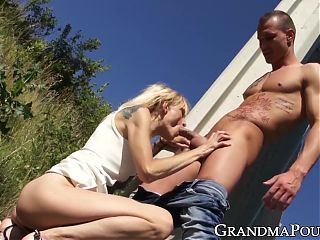 Hardcore drilling outdoors with young dude and old woman