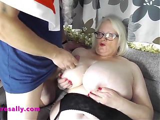 Granny Sallys huge tits drenched in cum