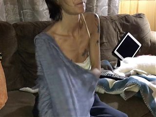 Skinny tattooed wife undressing and showing off her pussy