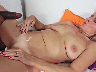 Nice fit blonde granny takes BBC deep in her mouth and pussy