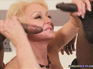 granny destroyed by two big black cocks