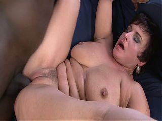 Horny Grandma with big boobs goes BBC for the first time
