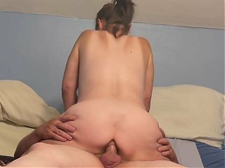 Gilf riding and getting her ass filled doggystyle while farting out cum