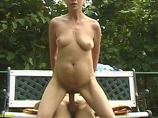 76 year old grandma publicly fucked by her young toyboy