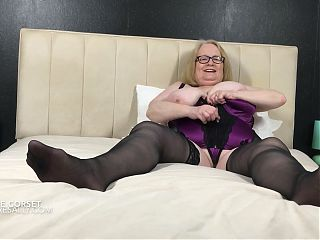 Huge titted granny in purple basque